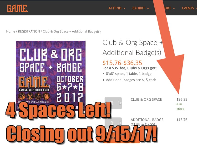 4 Club & Org Spaces Left!  9/15 Deadline!