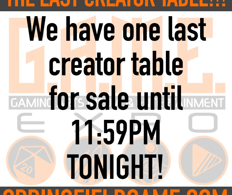 ONE LAST CREATOR TABLE!!!