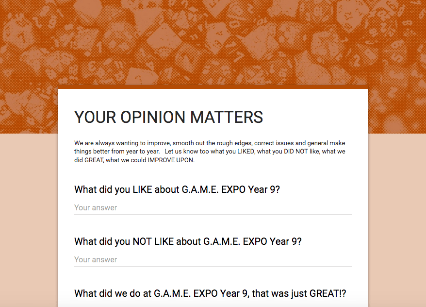 Your Opinion Matters!!!