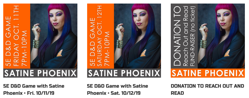 Satine Phoenix 5E D&D Games Fund Raiser